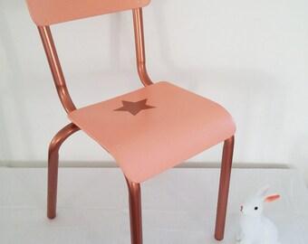 Chair of schoolboy kindergarten vintage 60s - pink & copper