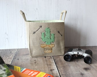 Adventure awaits with our Cactus Personalised Storage Basket, map storage, wild & free, travel docs