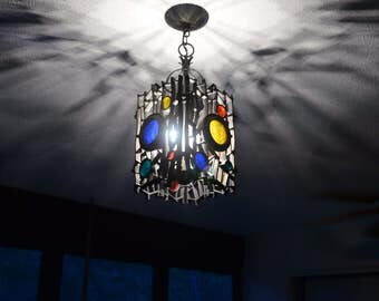 Mid Century Modern Pendant Ceiling Fixture Stained Glass Brutalist Style