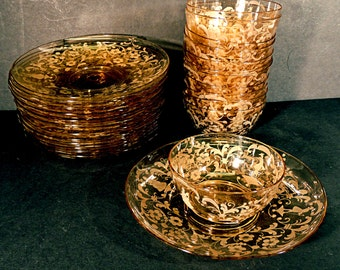 Antique Bowls and Liners 6 Sets Bohemian Hollywood Regency Hand Made and Cut Glass