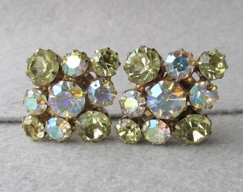 Unsigned WEISS Pale Yellow Auorora Borealis Vintage Rhinestone Earrings
