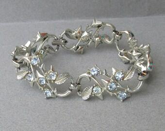 1950's Vintage Coro Pegasus Rhodium Plated Baby Blue Rhinestone Bracelet