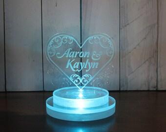 Wedding Cake Topper /Lighted/Heart/Personalized/Custom Cake Topper/LED Light/U Choose Color