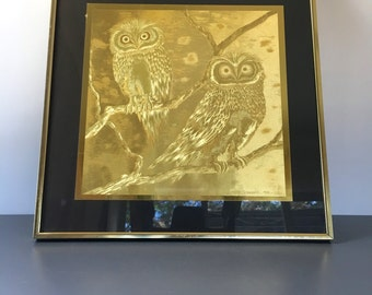 vintage gold foil owls framed J. Hardelin 1976 Paris