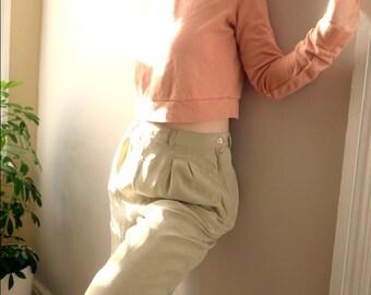 Ecru Silk High Waist Trousers