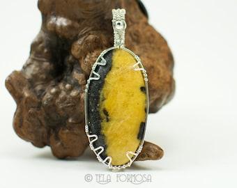 Wire Wrapped Jewelry Rare Russian Cancrinite Pendant Black & Yellow Pendant Natural Stone Pendant Cabochon Pendant Sterling Silver Handmade