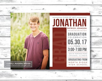 graduation announcement, graduation invitation, graduation party, modern, class of 2017, party invitation, PRINTABLE or PRINTED CARDS