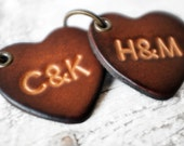 Personalized Leather Keychain Couples Gift, Leather Heart Anniversary Gift with Initials, 3rd Anniversary, Wedding or Valentine's Day Gift