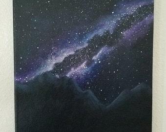 Original acrylic space landscape painting 8x10