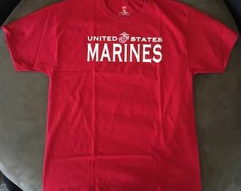 """USMC """"Marines"""" T-Shirt Marine Corps PT Short Sleeve Tee ~ Large ~ Last Ones!"""