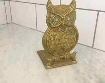 Vintage Brass Owl Bookend, Owl Decor, Vintage Brass, Brass Bookend, Vintage Owl, Book Lover, Bibliophile Gift