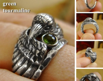 Raven Ring with Green Tourmaline Companion - Totem Ring - Bird Ring - Black Raven - Silver Ring - Witch Ring - Nordic Myth Ring