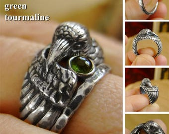 Raven Ring with Green Tourmaline - Green Ring - Totem Ring - Bird Ring - Black Raven - Silver Ring - Witch Ring - Nordic Myth Ring