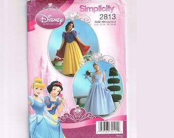 Simplicity 2813 Women's Disney Princess Costume Pattern, Cinderella gown, Snow White Halloween, Misses Size 6 8 10 12, dress, cape, headband