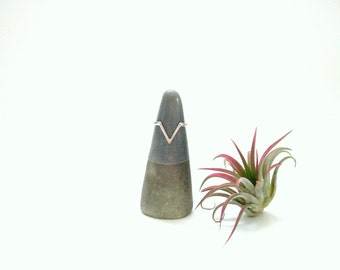 Minimalist Ceramic Ring Cone/ Jewelry Holder Storage in Dark Gray, Modern Pottery, Gift for her, Gifts under 20, READY TO SHIP