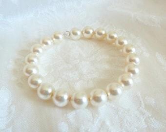 SALE** Swarovski Cream Pearl Memory Wire Bracelet-Pearl Bridal Jewelry-Swarovski Pearl Bridal Jewelry-10mm Swarovski Cream Pearl Bangle- 606