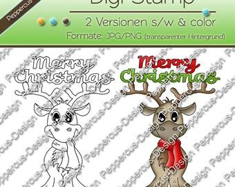 Digi stamp set - reindeer - Merry Christmas / E0106