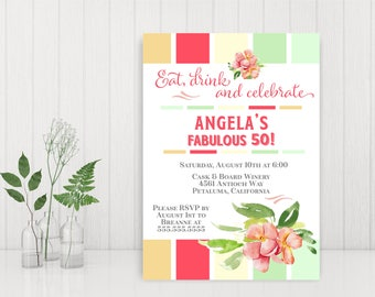 Woman's 50th Birthday Invitation, Adult Birthday Invitation, Printable Birthday Party Invitation, 40th, 60th,  Birthday Invitation, A7012