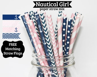 Nautical, Girl, PAPER STRAWS, navy pink, anchor, baby shower, birthday party, wedding, bridal shower, cake pop sticks Free straw flags