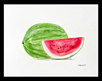 Watermelon art Watermelon painting Original art Fruit art Watermelon illustration Wall art Kitchen art 12 x 9 inch gift for her