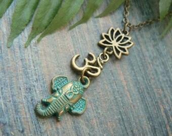 spiritual necklace Ganesha necklace zen necklace buddah necklace yoga necklace ohm new age meditation zen hipster boho gypsy hippie style