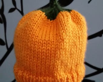 Hand-Knit Pumpkin Baby Beanie