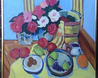 "Beautiful Original Still Life Painting w Fruit and Flowers / 24"" x 30"" Modern Oil on Canvas / Framed Modern Art Signed by A. Linnett"