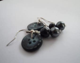 Black Button and Bead Earrings