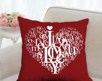 Valentines Red with Heart in White Text Designer Pillow