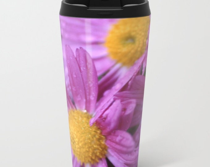 Flower Travel Mug Metal - Purple Coffee Travel Mug -  Hot or Cold Travel Mug - 15oz Mug - Stainless Steel - Made to Order