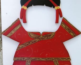 "Chinese New Year Female Outfit  - Wood ""Seasonal Bear/Dog/Cat"" Outfit - Interchangeable Outfit"