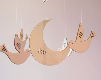 Personalized baby mobile wood, Nursery mobile , Baby crib mobile, Wooden mobile, baby shower