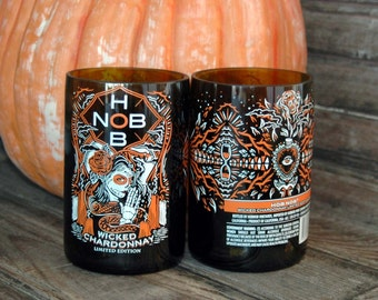 Day of the Dead Recycled Wine Bottle Glasses- Set of 2 Hob Nob  Halloween glasses Dia De Los Muertos