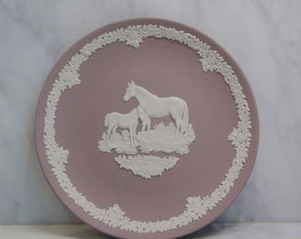 Wedgwood Jasperware Lilac Plate / Mare and Foal Mother's   Plate / 1981