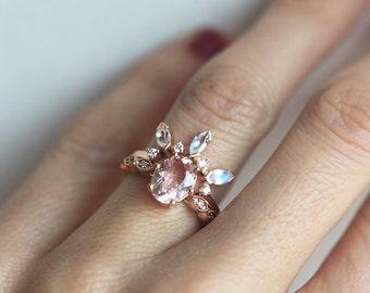 Moonstone Diamond Wedding Band, Moonstone Wedding Ring, Curved Diamond Band, Curved Moonstone and Diamond Ring, Moonstone Engagement