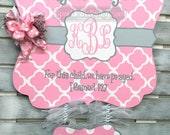 Birth Announcement - Door Hanger -Personalized Quatrefoil Baby Announcement Sign For Hospital Door with Large Stats