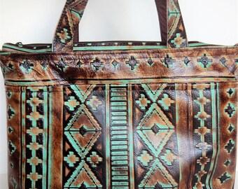 Leather shoulder or crossbody bag in Southwestern design.  Southwestern leather tote or shoulder bag.