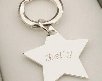 Personalised Engraved Silver Star Keyring - Sterling Silver Keychain - Key Fob - Key Ring -  Gift for Her for Friend - Back Engraving Option