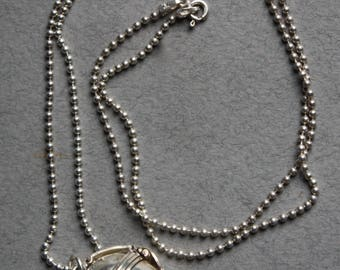 Sterling Silver Ball Four Panel Locket on Sterling Silver Chain