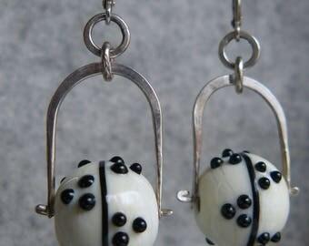 Ivory Black, Handmade Lampwork Glass Bead Earrings, Dot and Line, Hammered Sterling