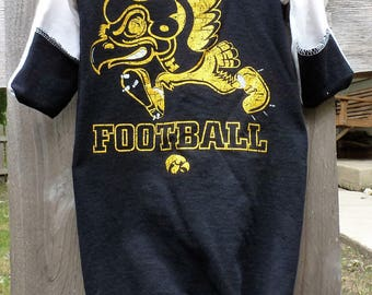 University of Iowa Baby Hawkeyes Infant Upcycled/recycled t-shirt Gown/sleep sack Newborn - 3 months