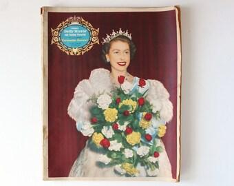 Coronation Souvenir, Coronation Memorabilia, Vintage Newspaper, Royal Memorabilia, Vintage Royal Memorabilia, Overseas Daily Mirror 1953