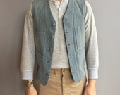 RRL Ralph Lauren Railroad Denim Vest with four front pockets, buckle back waist cincher