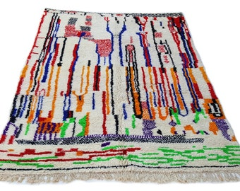 10'X7' ft / Handmade Moroccan rug Beni Ourain 100% Wool / Azilal Rug / Boucherouite Rug / Beni Ouarain / Moroccan Kilim
