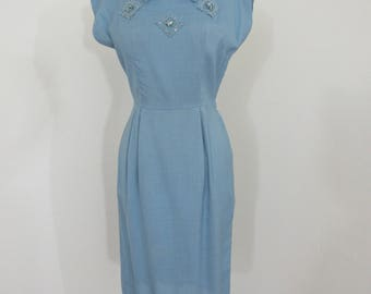 1950s Blue Linen Wiggle Dress with Appliqués and Rhinestones