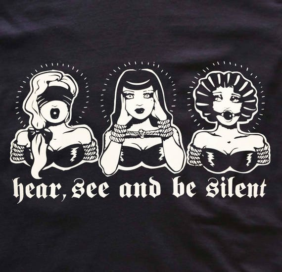 Hear see and be silent- bdsm version - fetish retro girls - Mens and Womens t-shirt, tank dress