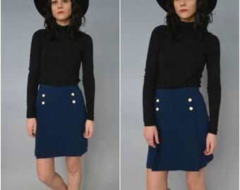 1960s high waisted navy blue skort
