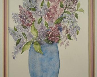 Vintage Floral Watercolor Painting Original Impressionist Art Flowers Purple Lilacs Framed