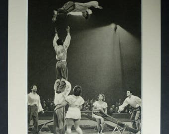 1940s Antique Acrobatic Print, Available Framed, Acrobat Art, Old Circus Wall Art, Carnival Picture, Gymnastics Gift, Gymnast Photography