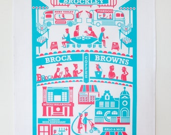 Brockley tea towel / London illustration